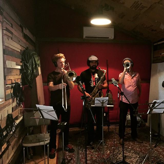Horns in the studio recording album 'Earthman'